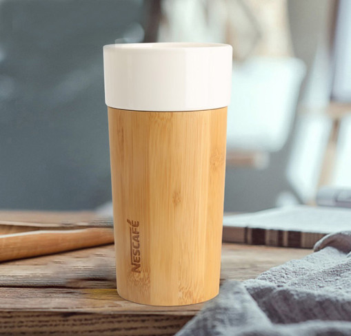 Bamboo ceramic thermos cup