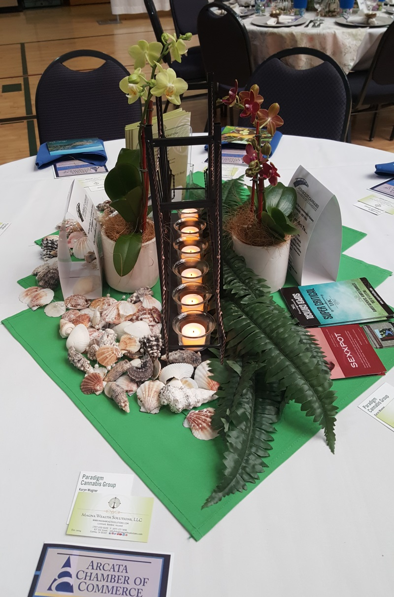 Sideview of our sponsored table decor at the Arcata Chamber of Commerce's dinner.