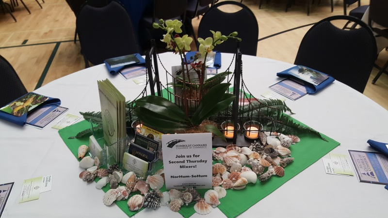 Bridge-themed center piece to match our logo and our mission.