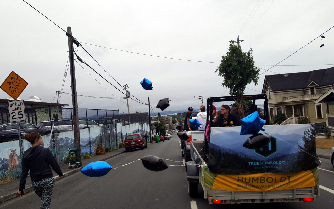 A typical Humboldt day for a parade going past Wildberries in Arcata on 9th Street.
