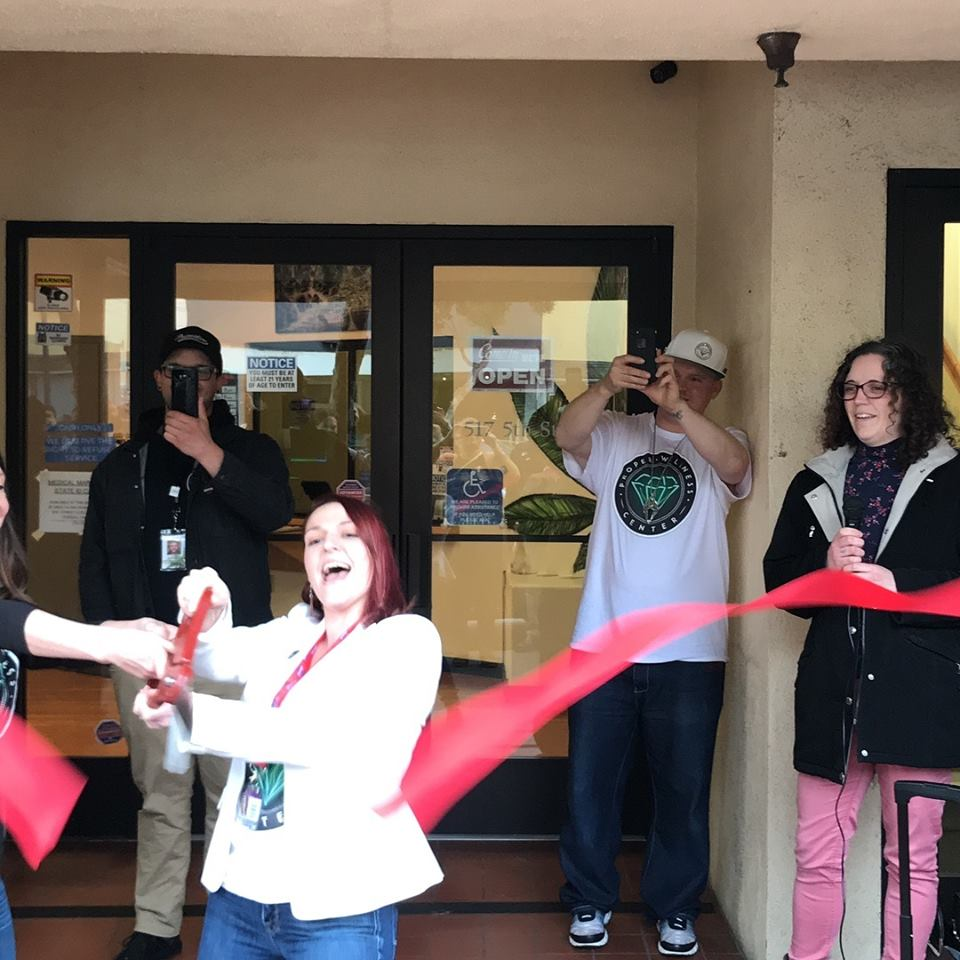 Proper Wellness Center cutting the ribbon on their new dispensary in Eureka, California.