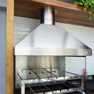 Coifa 3 águas e dutos para churrasqueira em aço inox