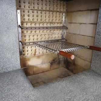 Suporte para espeto de churrasqueira em aço inox