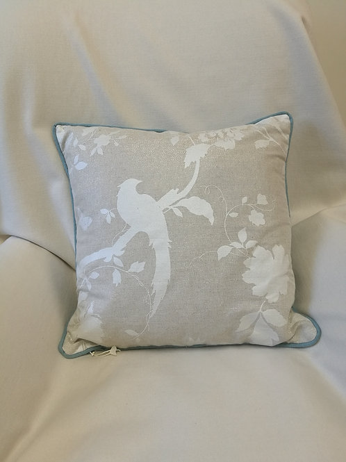 "18"" square designer cushion with an exotic bird on a branch print in white"