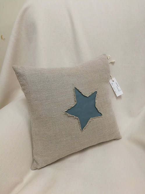 Textured linen cushion with a star motif in blue leather
