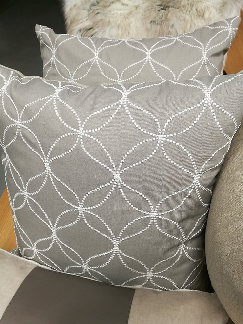 "Grey brown 18"" linen cushion geometric embroidered lattice"