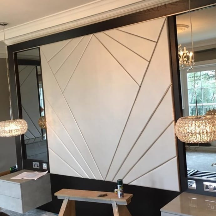 A multi-faceted headboard for a Master Bedroom. Precision pattern made to fit perfectly. A stunning statement large headboard.
