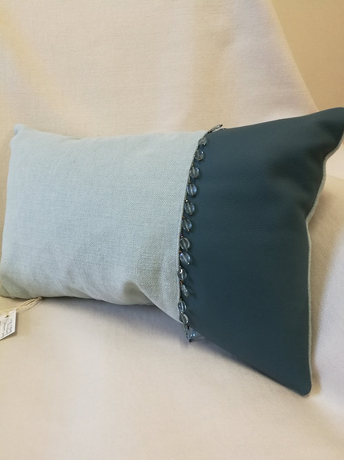 Blue rectangular cushion in linen & real leather, bead detail
