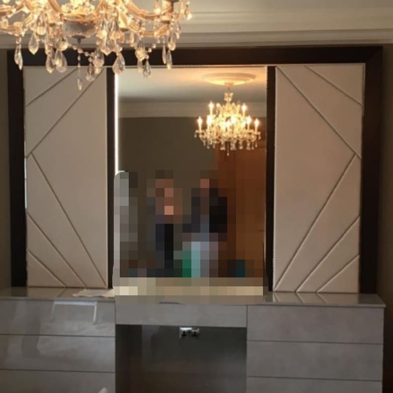 Master Dressing Room panels framing the mirror. Reflecting the pattern used on the Master Bed headboard
