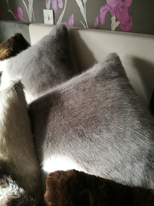 "Silver Minx faux fur cushion. High quality 20 x 20"" feather pad.Super soft to th"