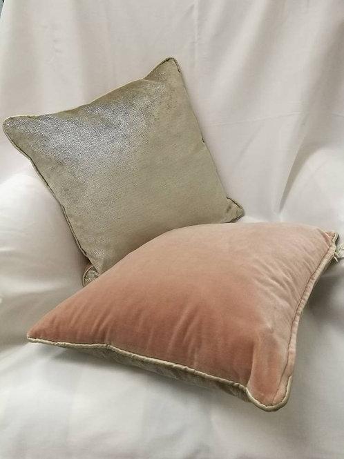"Blush pink & soft metallic 14"" cushion"