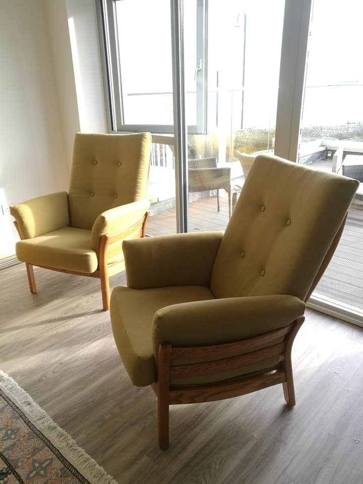 Re-upholstered Ercol chairs