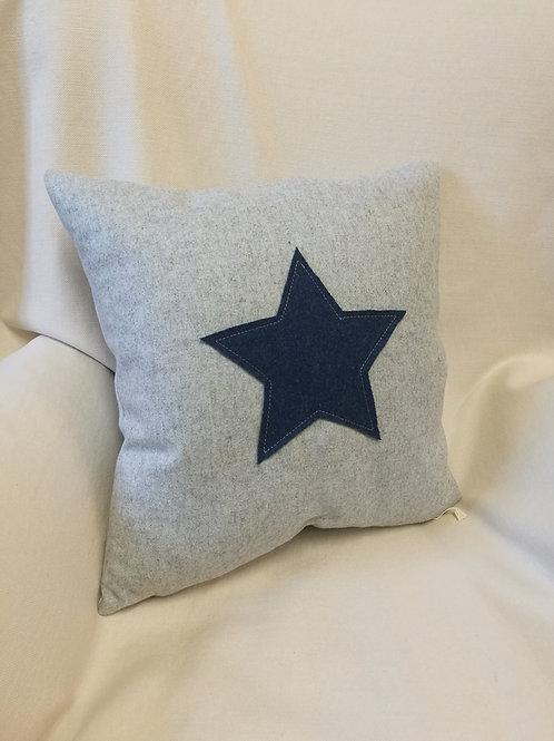 "Star cushion.Grey 16""square wool cushion,blue star motif."