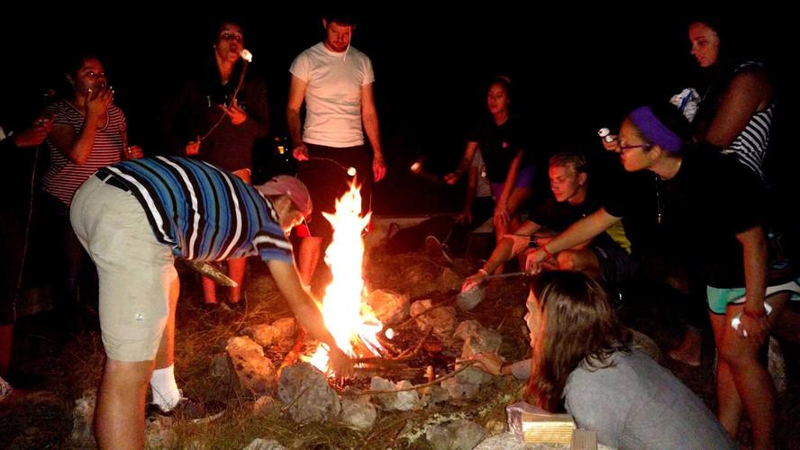 Bonfire at Fall Retreat