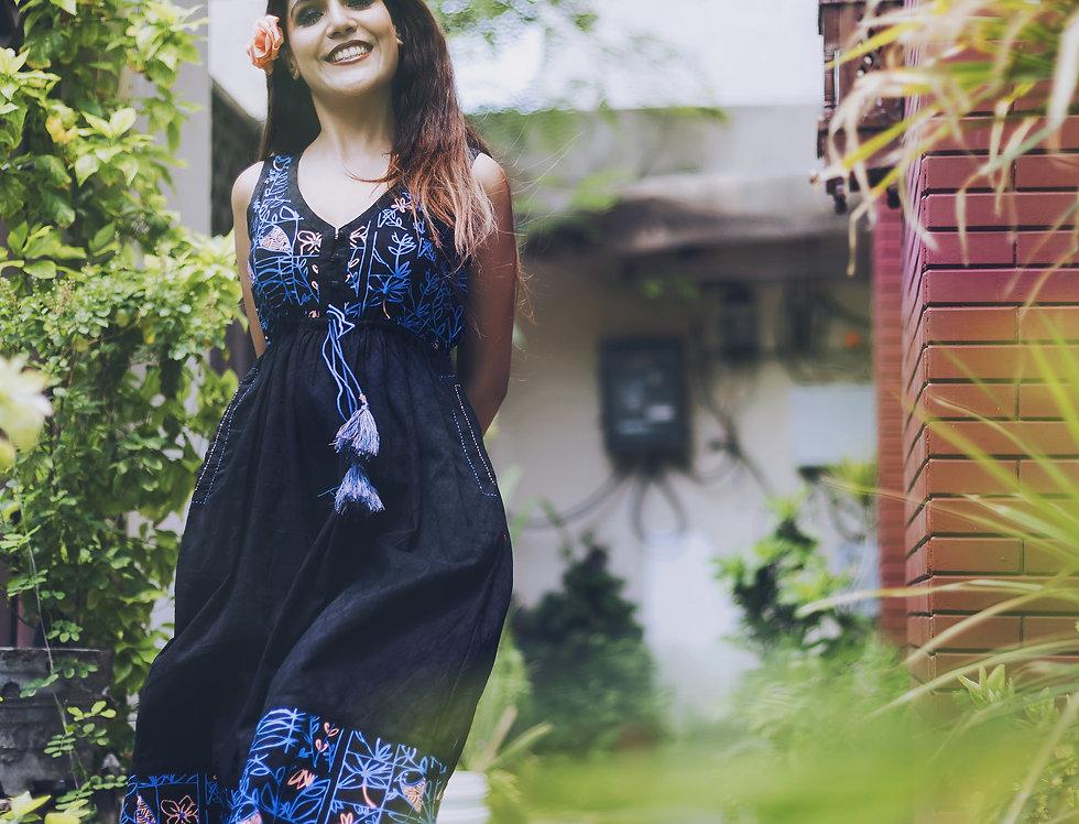 Garden Bird Draw-String Dress