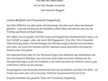 Weihnachtsgrüße vom Frauenbund Siegenburg