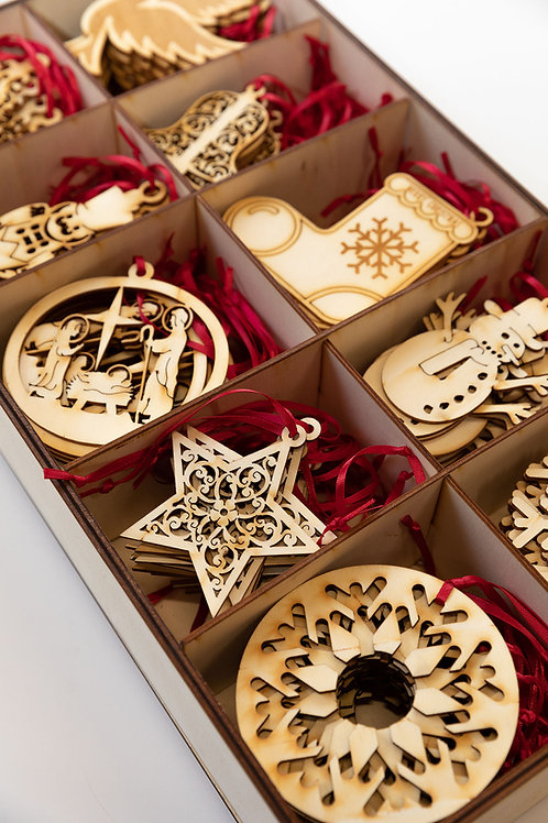 Wooden Christmas star tree decorations