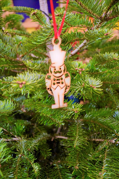 Wooden Christmas Toy Soldier tree decorations