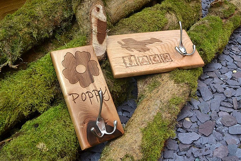 Wooden personalised clothes hook