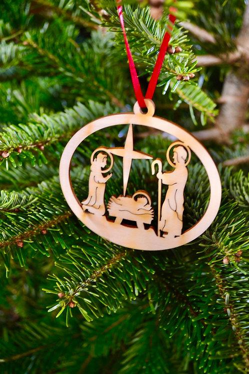 Wooden nativity Christmas tree decoration