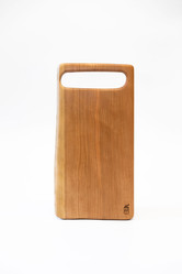 Handled wooden serving and chopping boards