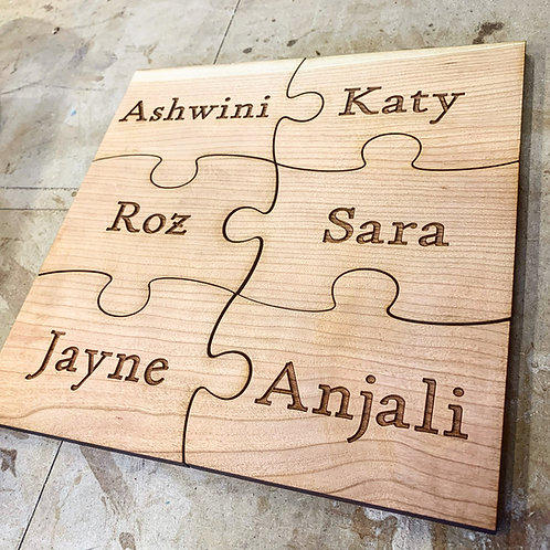 Wooden friends and family jigsaw signs