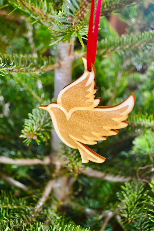 Wooden Christmas dove tree decorations
