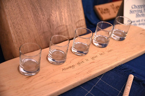 Wooden shot glass board and glasses