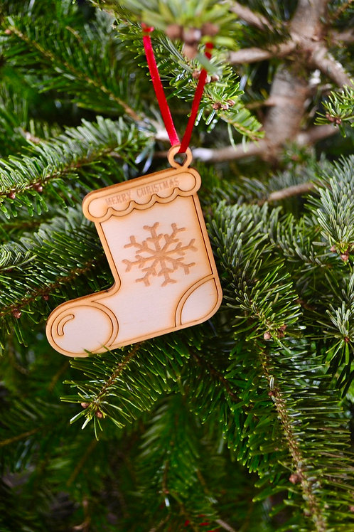Wooden Christmas Stocking tree decorations
