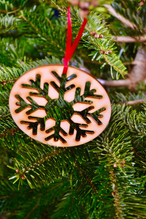 Wooden snowflake tree decoration