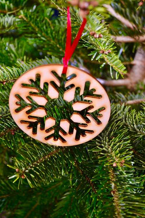 Wooden Christmas Snowflake stencil tree decorations
