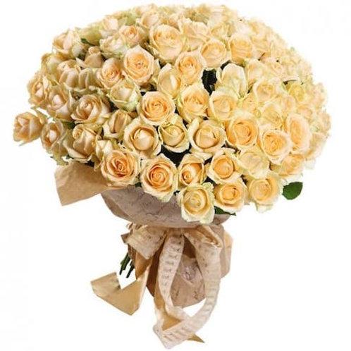 """101 роза """"Пич Аваланж"""""""