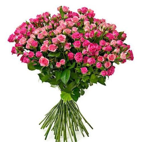 Кустовые ярко-розовые розы поштучно (от 10 шт.)