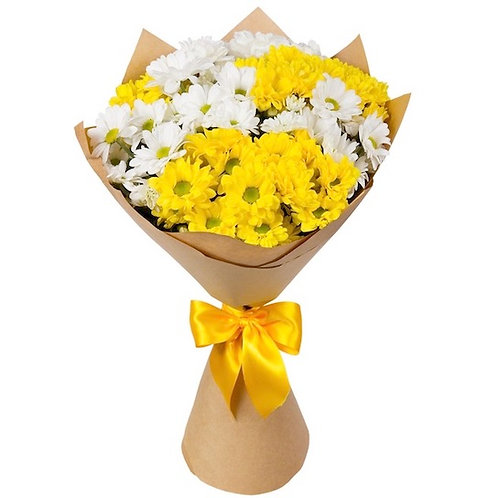 "9 бело-желтых кустовых хризантем ""Бакарди"""