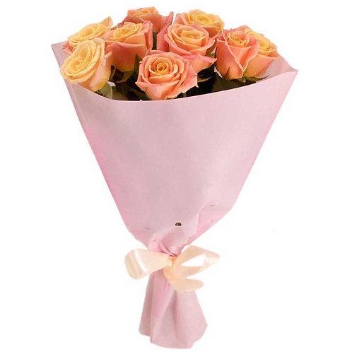 9 роз Мисс Пигги 60-70 см