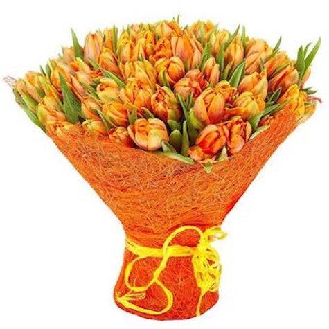 101 пионовидный оранжевый тюльпан