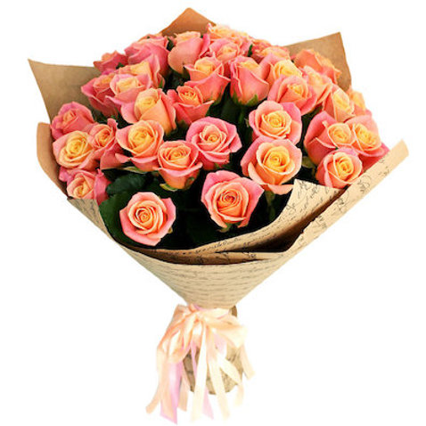"""25 роз """"Мисс Пигги"""" 60-70 см"""