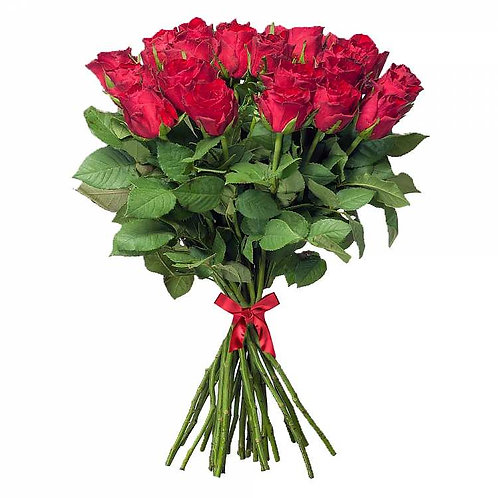 25 красных кенийских роз 40 см