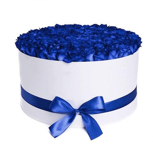 101 синяя роза Эквадор в шляпной коробке