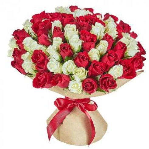 101 красно-белая кенийская роза