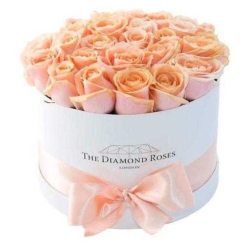 """35 роз """"Пич Аваланж"""" в шляпной коробке"""