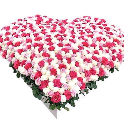 "Композиция 1001 роза ""Бело-розовый микс"""