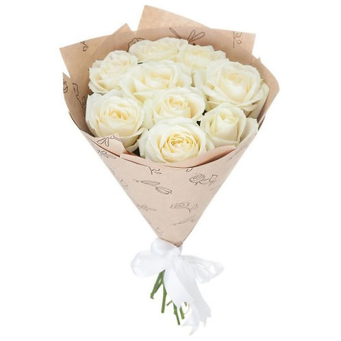 Букет из 9 белых роз Аваланж