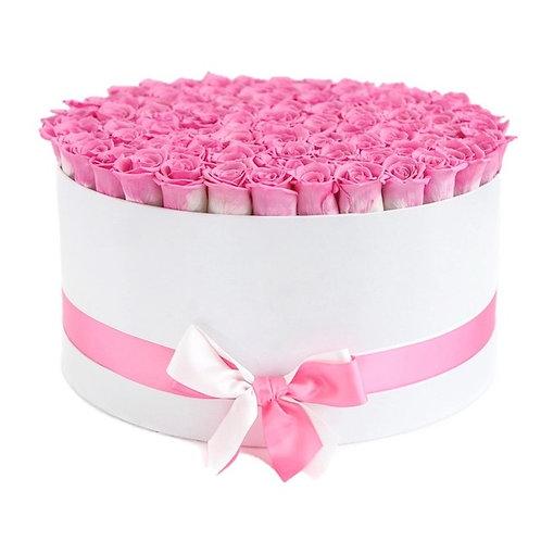 101 розовая роза Анна Карина в шляпной коробке