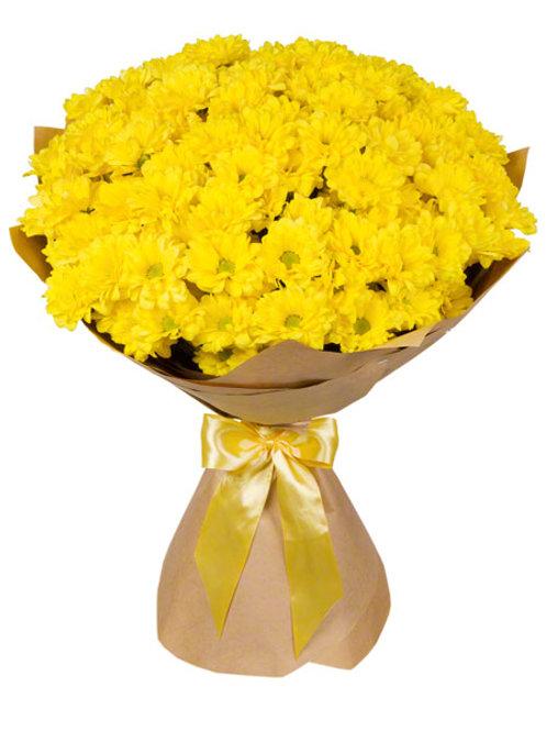 """19 желтых кустовых хризантем """"Бакарди"""""""