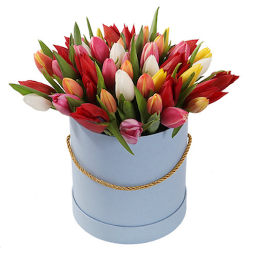 Микс из 51 тюльпана в шляпной коробке