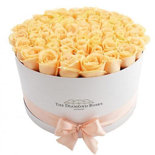"101 роза ""Пич Аваланж"" в шляпной коробке"