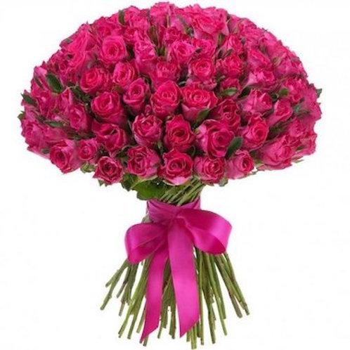 101 малиновая кенийская роза 40 см