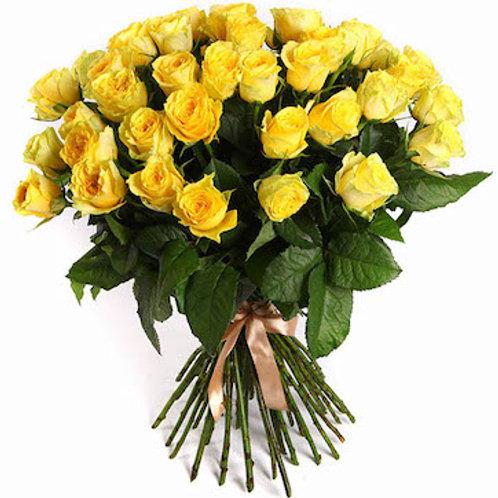 25 желтых кенийских роз 40 см