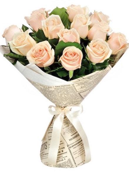 19 кремовых роз Талея 60-70 см